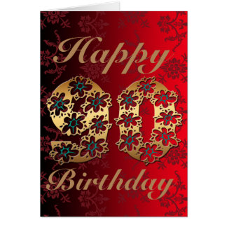 Golden Floral 90 Happy Birthday Greeting Card