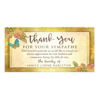 Golden Floral Butterfly Thank You Sympathy Card