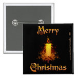 Golden Floral Candle - Merry Christmas Pinback Buttons