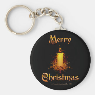 Golden Floral Candle - Merry Christmas Keychain