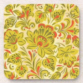 Golden Floral Coaster