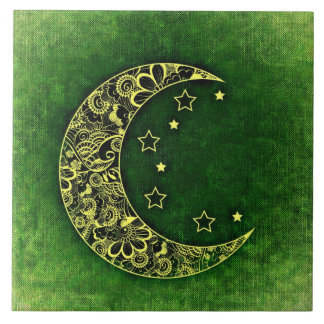 Golden Floral Crescent Moon and Stars on Green Large Square Tile