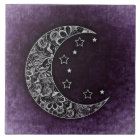 Golden Floral Crescent Moon and Stars on Purple Ceramic Tile