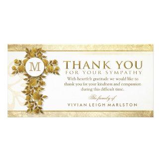 Golden Floral Cross Monogram Thank You Sympathy Card
