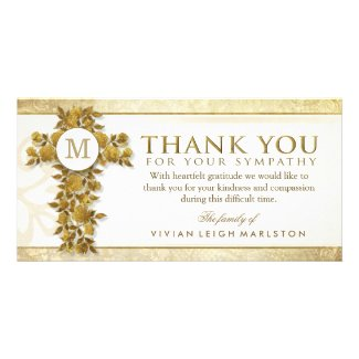 Golden Floral Cross Monogram Thank You Sympathy