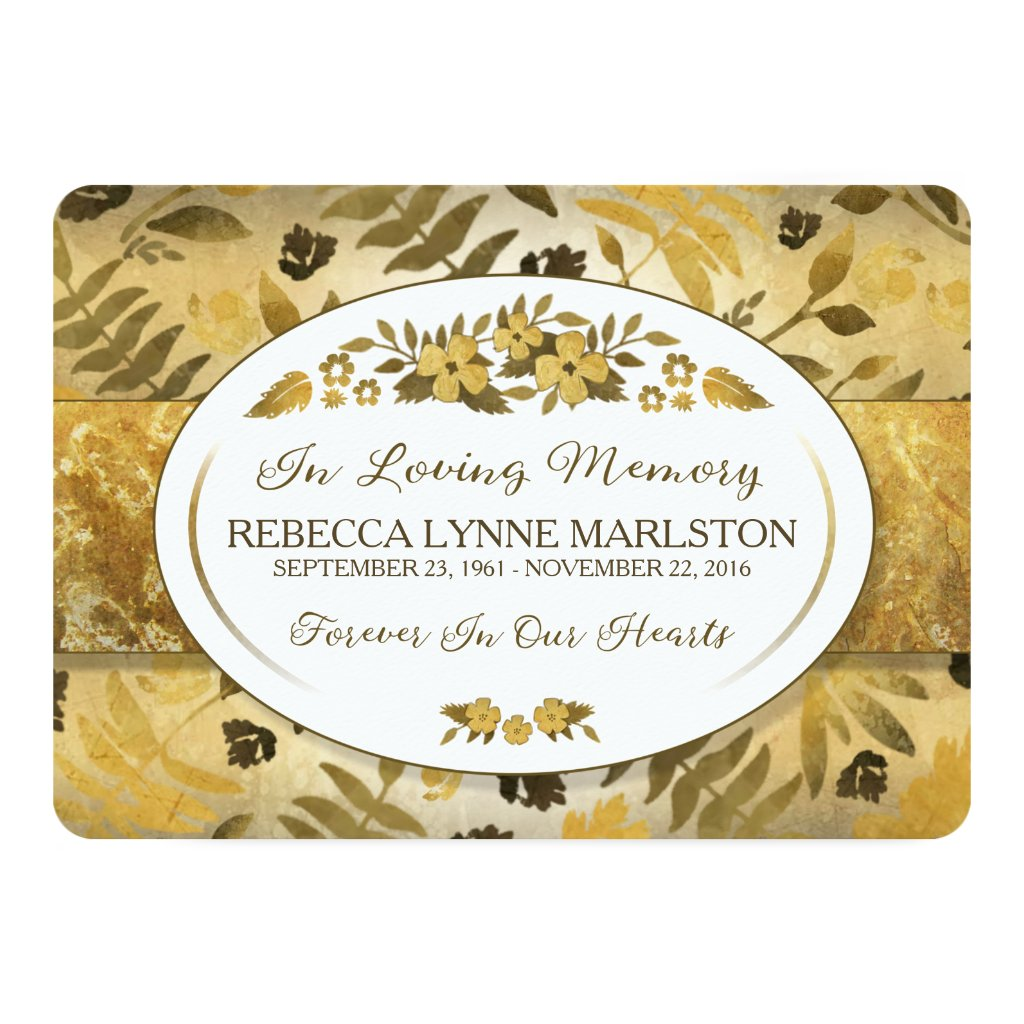 Golden Floral Custom Memorial Service Invitation