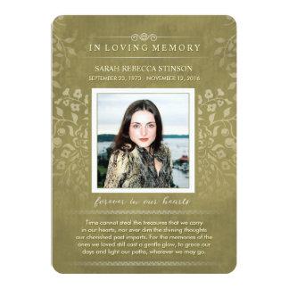 Golden Floral Custom Photo Poem Thank You Card