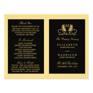 Golden Floral Emblem Wedding Program