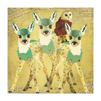 Golden Floral Fawn & Ruby Owl Art Canvas
