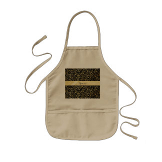 Golden Floral Flourishes & Swirls Black Kids' Apron