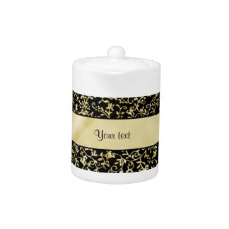 Golden Floral Flourishes & Swirls Black Teapot