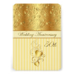 Golden floral, hearts 50th Wedding Anniversary Invites