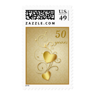 Golden floral, hearts 50th Wedding Anniversary Postage Stamp