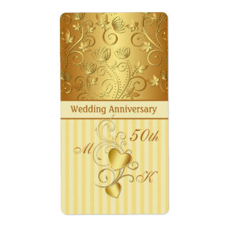 Golden floral, hearts Wedding Anniversary Wine Label