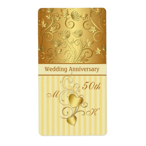 Golden Wedding Anniversary Gift Experiences : Golden floral, hearts Wedding Anniversary Wine Shipping Label Zazzle