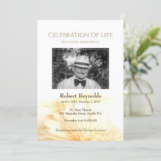 Golden Floral Memorial Funeral Service Photo Invitation