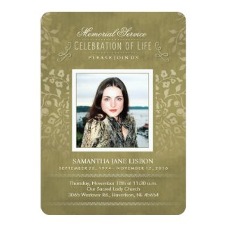 Golden Floral Memorial Service Photo Custom Invite