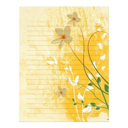 golden floral modern design  lined paper personalized letterhead
