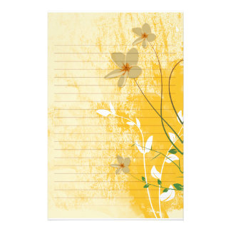 golden floral modern design  lined paper personalized stationery