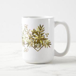GOLDEN FLORAL ~ Monogram Mug