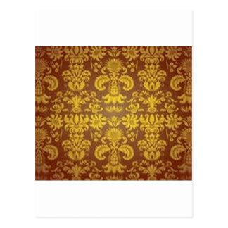 Golden floral pattern postcard