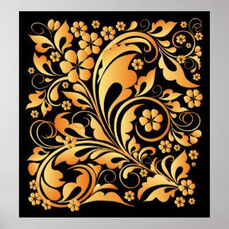 golden floral pattern poster