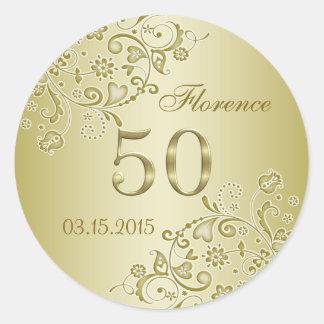 Golden floral swirls 50th Birthday Sticker