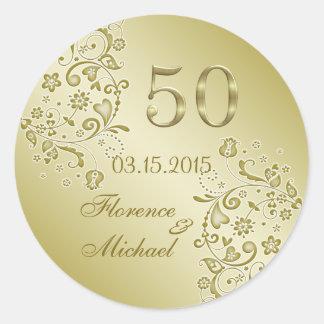 Golden floral swirls 50th Wedding Anniversary Classic Round Sticker