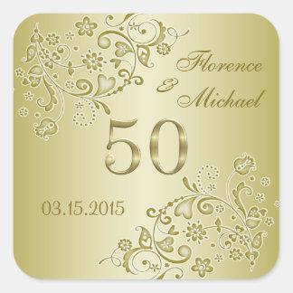 Golden floral swirls 50th Wedding Anniversary Square Sticker