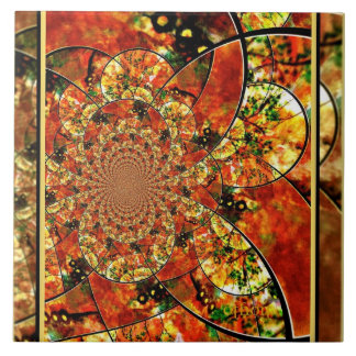 Golden Floral Tile