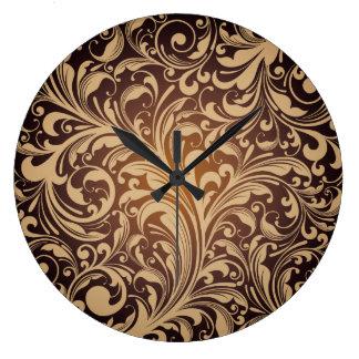 Golden floral Wall Clock