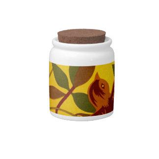 Golden Floral with Bird Textile Candy Jar
