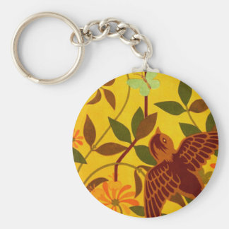 Golden Floral with Bird Textile Key Chain