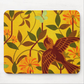 Golden Floral with Bird Textile Mouse Pad
