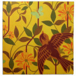 Golden Floral with Bird Textile Napkins
