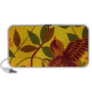 Golden Floral with Bird Textile Travelling Speakers