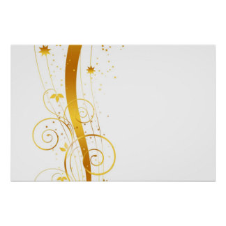 Golden florals christmas decor print