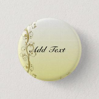 Golden Flourish Template, Customizable Pinback Button
