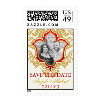 Golden Flourishes Photo Save the Date Postage