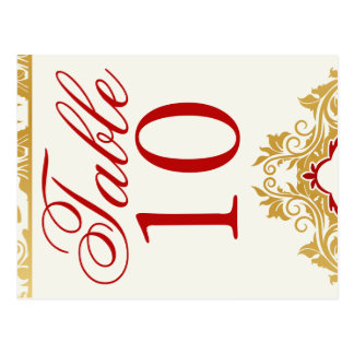 Golden Flourishes Wedding Table Numbers Postcards