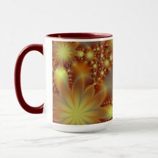 Golden flower lights mug