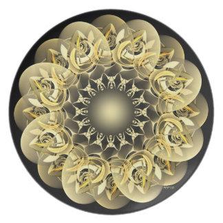 Golden Flower Melamine Plate