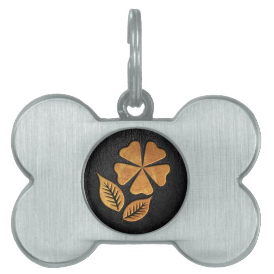 Golden Flower on Black Leather Pet Tag