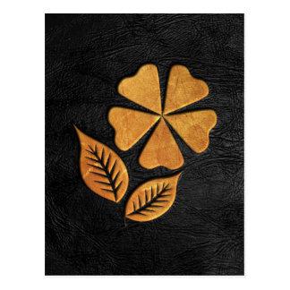 Golden Flower on Black Leather Postcard