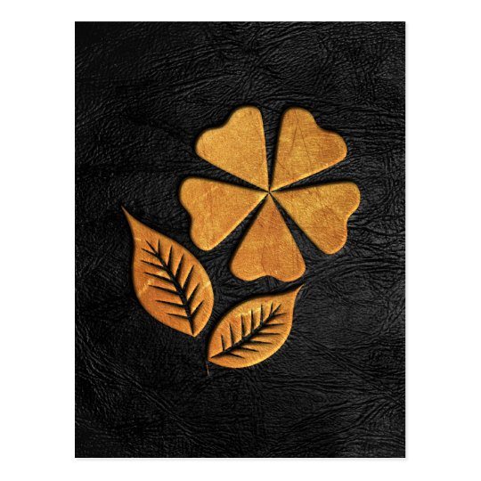 Golden Flower on Black Leather Postcard