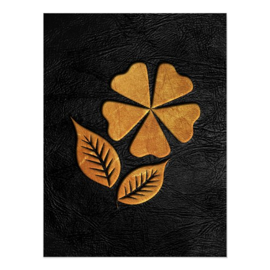 Golden Flower on Black Leather Poster