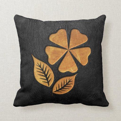 Golden Flower on Black Leather Throw Pillow Zazzle