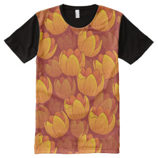 Golden Flower Pattern All-Over Print T-shirt