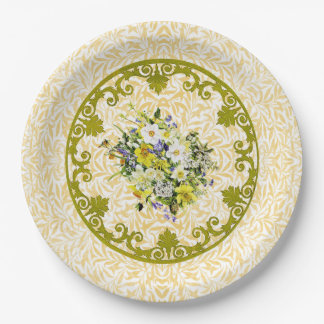 Golden Flower Plate 9 Inch Paper Plate