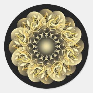 Golden Flower Round Stickers